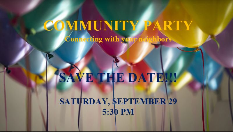Community Party 9-29-18 at 5:30 PM!