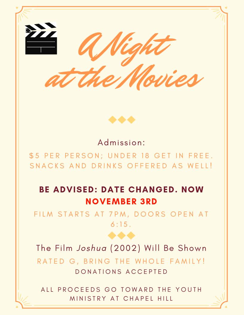 Saturday, November 3rd: A Night at the Movies