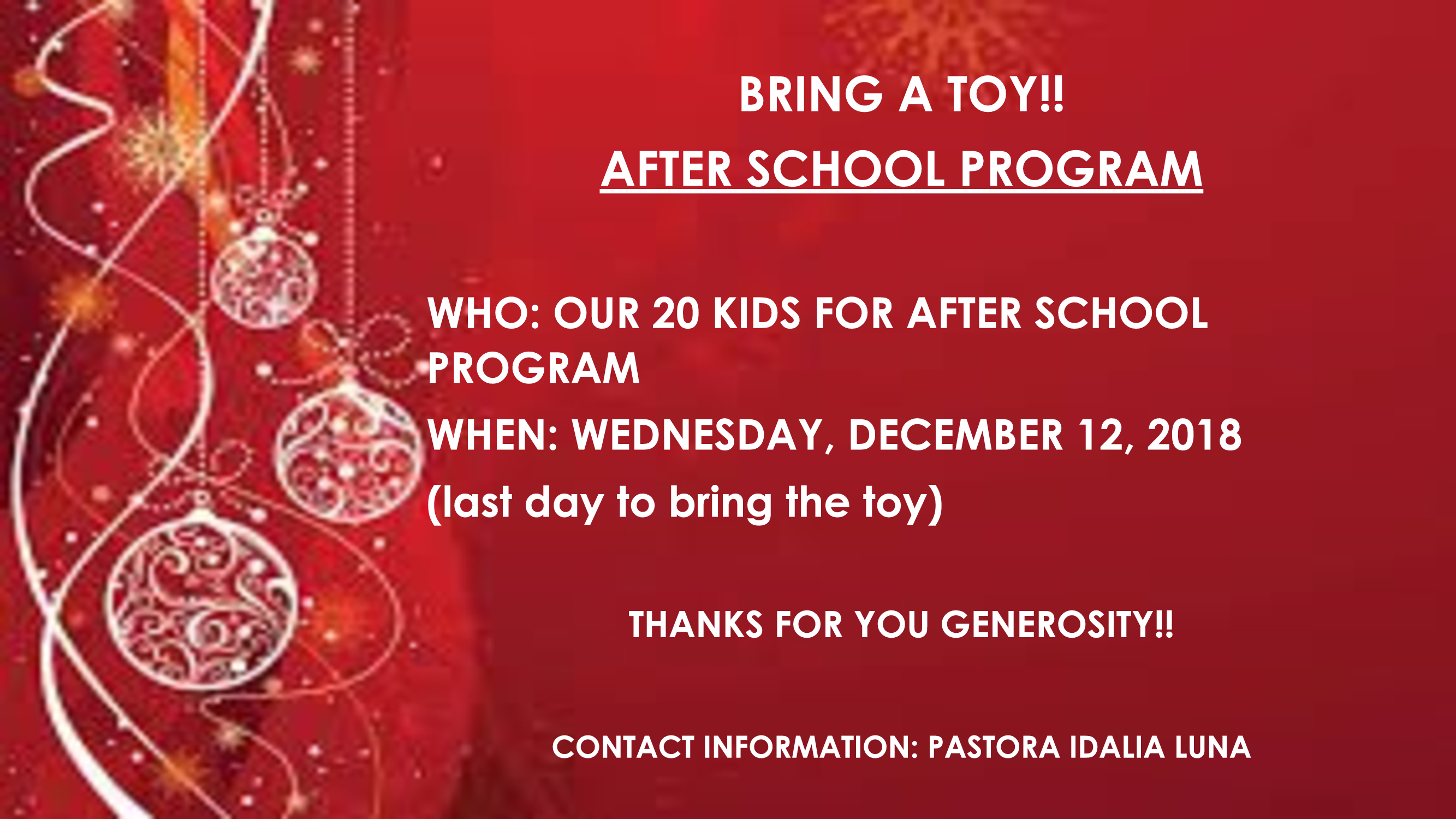 Bring A Toy! Wednesday, December 12th 2018